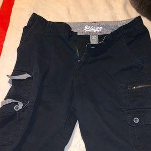 "Men's 32"" Plugg Black Cargo Shorts"